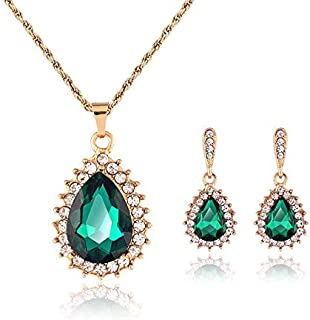 18k Gold drop Wedding Rhinestone women necklace earring Jewelry set
