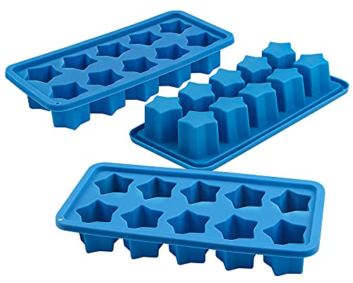 Webake Silicone Ice Cube Trays Star Shaped Ice Cube Molds for Whiskey and Cocktails, Easy Release Jelly Crayon Mold Pack of 3
