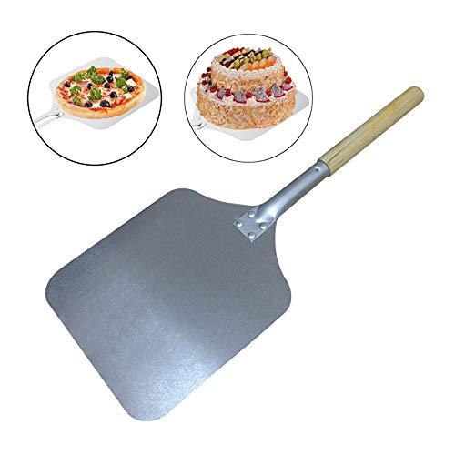 TJQTJQ Aluminio Pizza Peel, Pizza Paddle, Pastel Hornear Herramientas Pala de Madera de la manija, también Puede ser Utilizado para Hacer Pan en el Horno