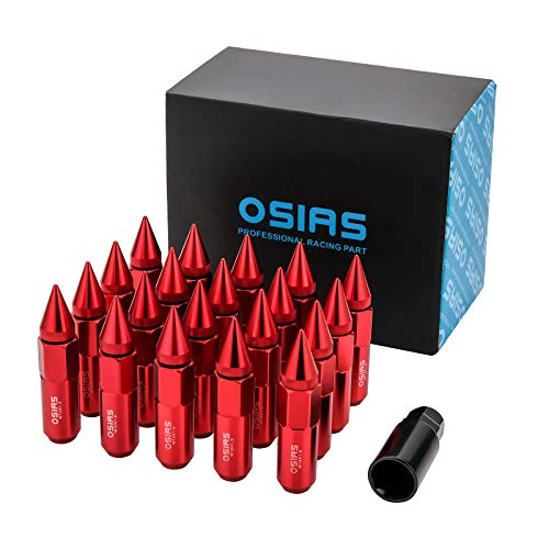 OSIAS Brand New 20PCS M12X1.5 Racing Wheel 60MM Lug Nuts with Socket Key for Honda Red
