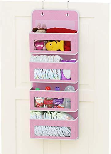 Simplehouseware Over DoorWall Mount 4 Clear Window Pocket Organizer Pink