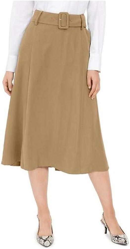 ALFANI Women's Solid Side-zip Belted Pocket A-Line Skirt