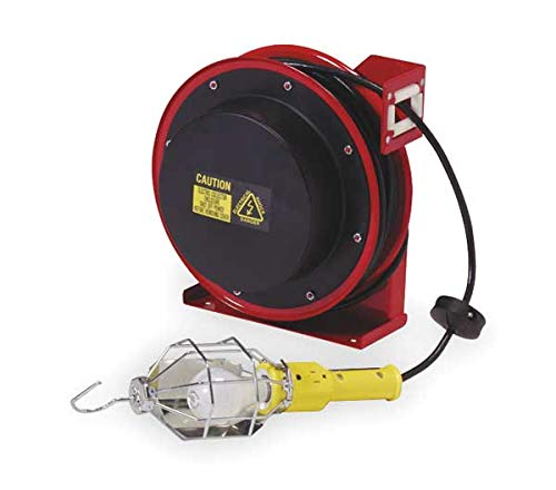 REELCRAFT Incandescent Extension Cord Reel with Hand Lamp, Reel Width: 3 in