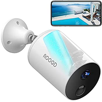AOOGD Security Camera Outdoor Battery-Powered Wireless Security Cameras for Home Security with PIR Human Motion Detection Night Vision Two-Way Audio Android / iOS Compatible