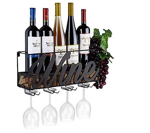 Estante para vino montado en la pared, soporte para botellas y vidrio, almacenamiento de corcho, color rojo, blanco, champán, decoración del hogar y la cocina