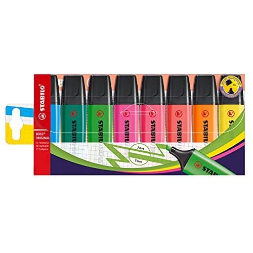 Marcador fluorescente STABILO BOSS ORIGINAL - Estuche con 8 colores