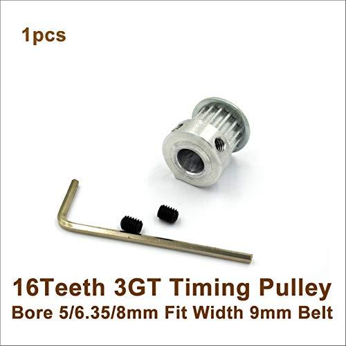 Jjzhb PYunLi-Polea de distribución, 16 Dientes Polea de Tiempo de 3 GT 16T, Orificio 5/6.35 / 8mm, FIT W = 9MM 3GT Cinturón de Tiempo, 20T 20TETHETH GT3 Timping Pulley Impresora 3D, Transmisión Suave