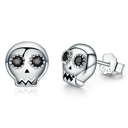 Ghost Skull Spider Cross 925 pendientes de plata esterlina (Plata)