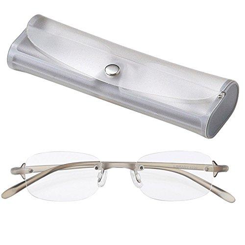 ライブラリーコンパクト 超軽量 TR90 フレーム ツーポイント シニアグラス 老眼鏡 男性 紳士用 +1.50 (専用ケース付) 4230-15