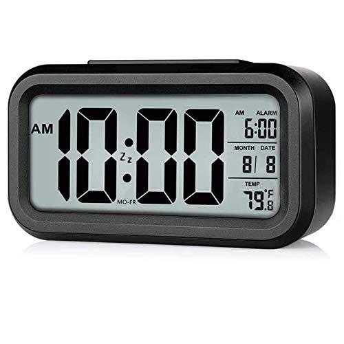 Battery Operated Alarm Clock, Rscolila Desk Clocks with Smart Backlight, Date, Indoor Temperature, Snooze Function, Digital Alarm Clock for Bedroom, Office (Black New)