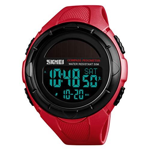 Reloj Digital,Multifuncional Deportes Impermeable Contador Calorias CronóGrafo BrúJula Calendario Alarma Solar Pantalla Grande Reloj De Pulsera Electronico PodóMetro para Hombres Mujeres