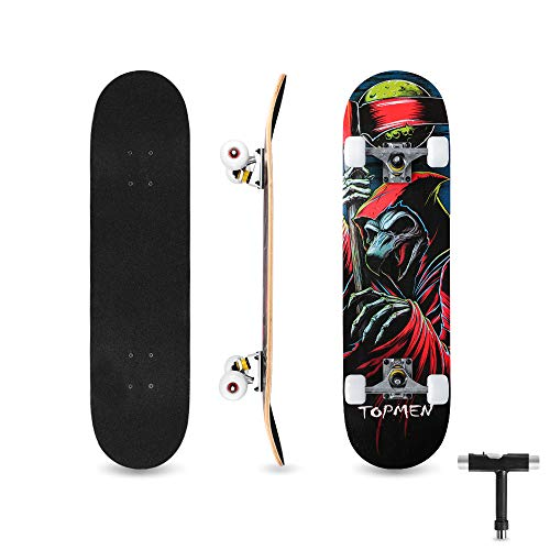 bigzzia Skateboard Komplett für Kinder Teenager & Erwachsene Anfänger, Double Kick Maple Deck Concave Cruiser Skateboard mit T-Tool, Geburtstagsgeschenk für Jungen & Mädchen