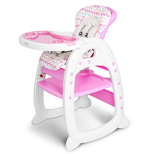 CLOFY Baby High Chair 3 in 1 Infant Table and Chair Set, Convertible Booster Seat with Adjustable Feeding Tray and Backrest (Pink)