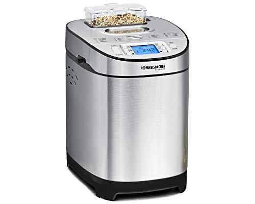 ROMMELSBACHER Brotbackautomat BA 550 - 13 Programme, automatisches Zutatenfach, 2 Brotgrößen (700 g / 900 g), einstellbarer Bräunungsgrad in 3 Stufen, auch für glutenfreies Brot, Edelstahl/schwarz