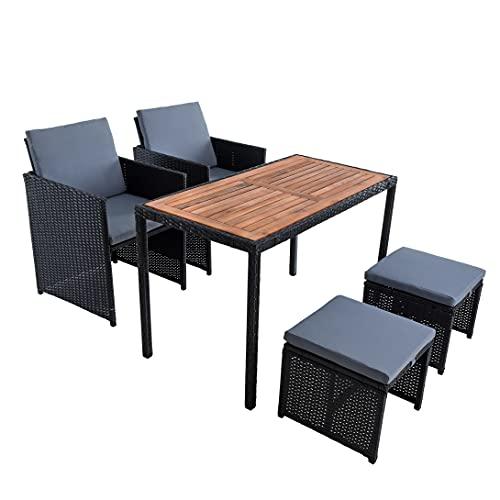 ESTEXO Polyrattan Sitzgruppe Gartenmöbel Set Essgruppe Gartenset Rattanmöbel Rattan Set Hocker Gartenstühle Gartentisch (4 Personen/Schwarz)
