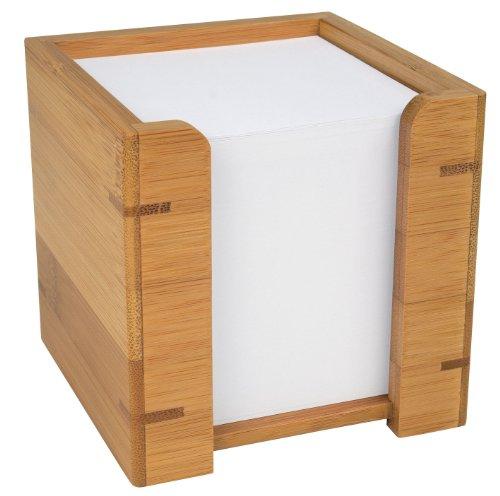 Wedo 61707 Zettelbox Bambus, inkl. 900 Blatt Papier 9 x 9 cm, im Geschenkkarton, braun