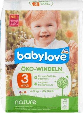 babylove Öko-Windeln nature Größe 3, Midi, 4-9kg, 1 x 36 St