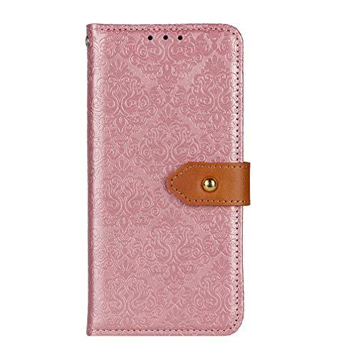 BRAND SET Handyhülle für Google Pixel 4a 4G Hülle Leder Wallet Tasche Cover Retro Blumen Muster Design Klapphülle Handytasche Phone Hülle für Google Pixel 4a 4G-Roségold