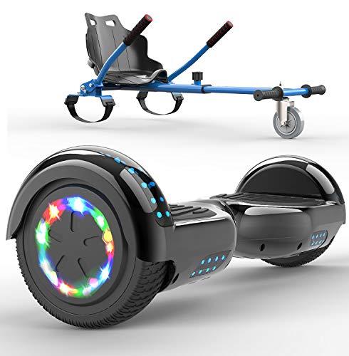 SOUTHERN WOLF Hoverboards Go Kart, Hoverboard con Silla, Luces LED de Rueda de Colores incorporadas y Bluetooth, Scooter eléctrico autoequilibrado de Motor de 2x350W, Regalos para niños