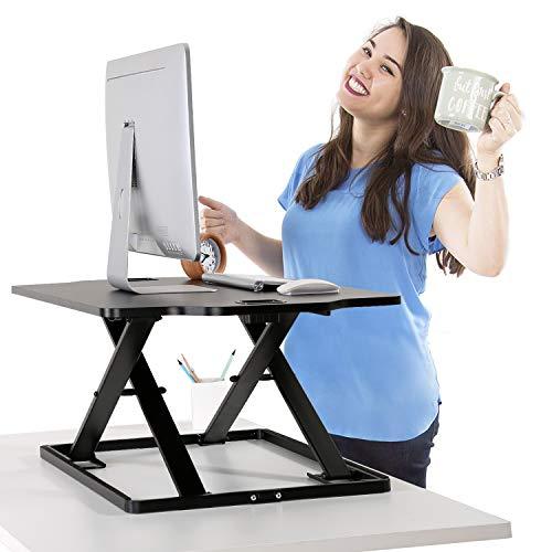 PUTORSEN® Höhenverstellbar Sitz-Steh-Schreibtisch Computertisch - Schreibtischaufsatz Steharbeitsplatz Standtisch - Tabletop Stehpult Konverter für Ergonomic Comfort (32'' - Schwarz)