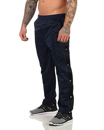 ZARMEXX Herren Trainingshose mit Knopfleiste zum öffnen Sporthose Freizeithose Jogginghose Sportswear Navy 3XL (56)