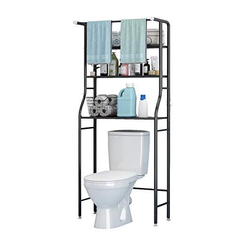 UDEAR 3 Shelf Bathroom Space Saver,Over The Toilet Rack,Bathroom Corner Stand Storage Organizer Accessories,The Washing Machine,with Hanging Rod,Bathroom Tower Shelf,Black