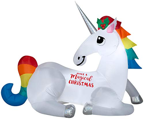 Gemmy Christmas Inflatable 6' Magical Christmas Unicorn | Airblown Inflatable