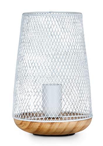 levandeo Tischlampe Metall Weiß H22cm Holz Lampe Standleuchte Leuchte Deko Tischdeko Retro Industrial Style Industrie Look