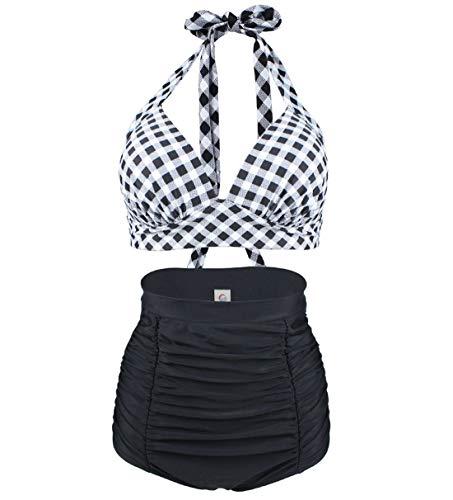 Viloree Retro 50s Damen Bademode Bikini Set Push Up Hoher Taille Bikinihose Bauchweg Kariert Schwarz & Weiss S