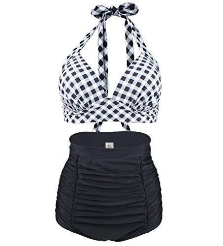 Viloree Retro 50s Damen Bademode Bikini Set Push Up Hoher Taille Bikinihose Bauchweg Kariert Schwarz & Weiss L