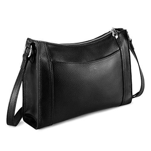 Kattee Leather Purses and Handbags for Women Crossbody Shoulder Bags - Black