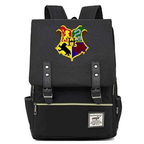 MMZ Mochilas Unisex, Mochilas temáticas de Hogwarts, Mochilas Escolares de Gran Capacidad para escuelas primarias y secundarias 43X29X13.5CM Negro
