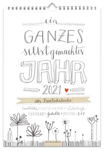 A4 Bastelkalender 2021, Recyclingpapier Fotokalender, Kreativkalender, Geburtstagskalender im Bleistift DIY Design, Grau Weiß mit Blumen, Kalender selbst gestalten, basteln und verschenken