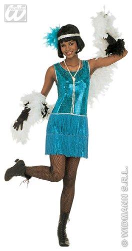 Widmann Damen Deluxe Flapper-Kostüm, Größe XL (18-20), für 20er-/30er-Jahre, Mob Capone Bugsy Kostüm
