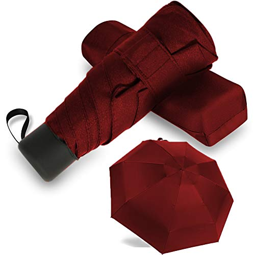 GAOYAING Paraguas compacto de viaje ligero y ligero para bolsillo rojo
