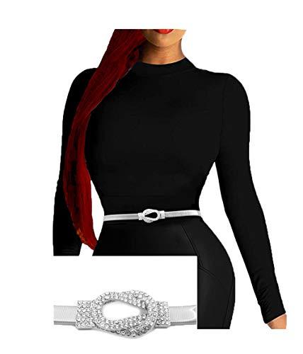 Rhinestone Knot Buckle Piece Stretch Waist Chain Belt   Amazon