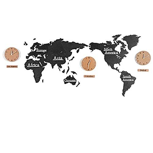 YUNDING Reloj De Pared del Mapa del Mundo Creativo Reloj De Madera Grande Reloj De Pared De Madera Estilo Europeo Moderno Redondo Silencio(Color:1)