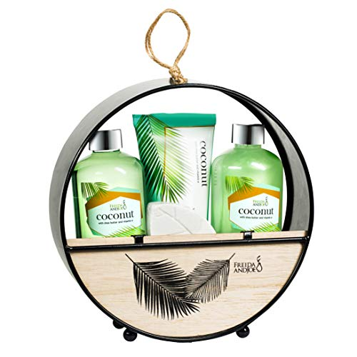 Coconut Spa Bath and Body Set in Modern Wood Round Holder: Shower Gel, Bubble Bath, Body Lotion & Bath Bomb Fizzer Relaxation Home Spa Baskets for Women