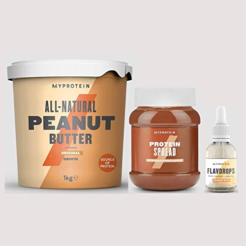 My Protein All Natural Peanut Butter Original Smooth 1kg, Protein Spreads Milk Chocolate 360g & Flavdrops Peanut Butter 50ml All-Natural Nutritious and A Great Source of Protein