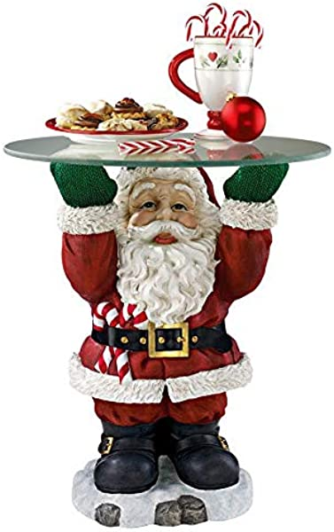 Christmas Decorations Santa Claus Glass Topped Holiday Decor Side Table
