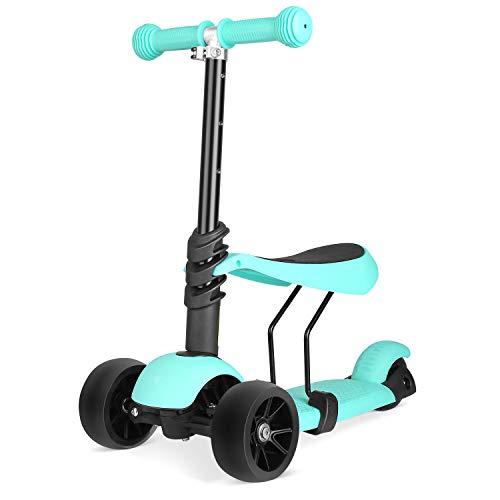 Bamny Kinderroller Kickboard mit verbreiterten Rollen und abnehmbarem Sitz, Kinderscooter Laufrad 2in1 höhenverstellbarer Lenker und LED Leuchtrollen, 1-5 Jahre altes Baby (Grün)