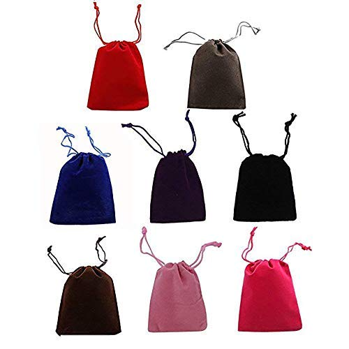 50PCS 2' X 3' Velvet Cloth Drawstring Bags Jewelry Bags Pouches Rainbowroseus Small Candy Gift Bags Christmas Party Wedding Favors Bags Mixed Colors