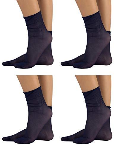 CALZITALY 4 Paar von Komfort Feine Socken ohne Gummibund | Schwarz, Hautfarbe, Blau | 20 DEN | Made in Italy (blau)