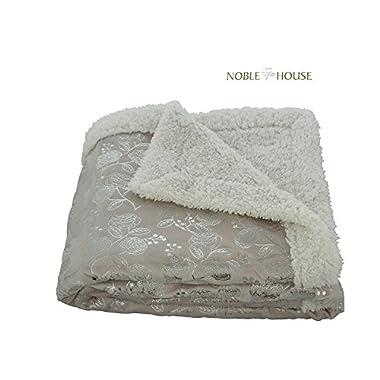 Luxurious Plush Reversible Flower Print Sherpa Throw Blanket, 50  X 60 , Beige