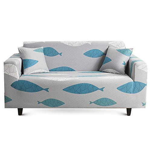 MAJAP - Funda elástica para sofá de 4 plazas con 2 fundas de almohada, también para sofá esquinero, funda de sofá en forma de L (235-300 cm)