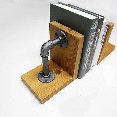 YROAR 2pcs 20 * 15 pipe industrielle bois & Metal American Country Retro étagère serre-livres Bureau étagère