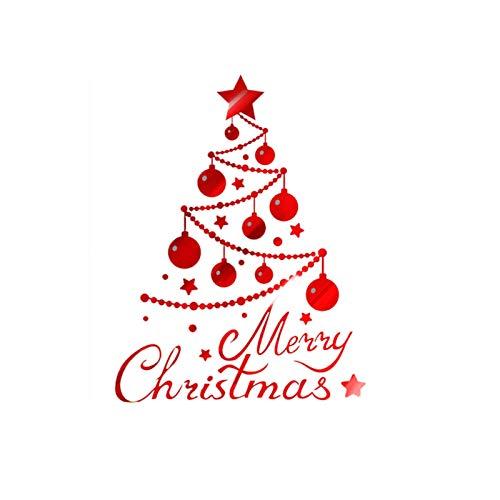ANQIY Navidad Etiqueta De La Ventana, Hermoso Árbol De Navidad Feliz Navidad Decoración De Bricolaje para Escaparate Puerta (Color : Rojo, tamaño : Grande)