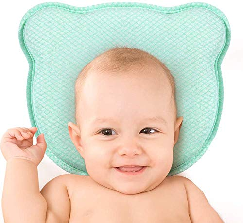 Babykissen für Neugeborene Atmungsaktives Memory Foam-Kissen mit abnehmbarem Kissenbezug zur Vorbeugung des Flat-Head-Syndroms und zur Unterstützung des Kopfes