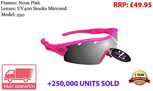 Rayzor Liteweight de rosa UV400deportes Wrap Golf Gafas de sol, 1PCE con ventilación ahumado espejo lente–Protector de pantalla antirreflectante