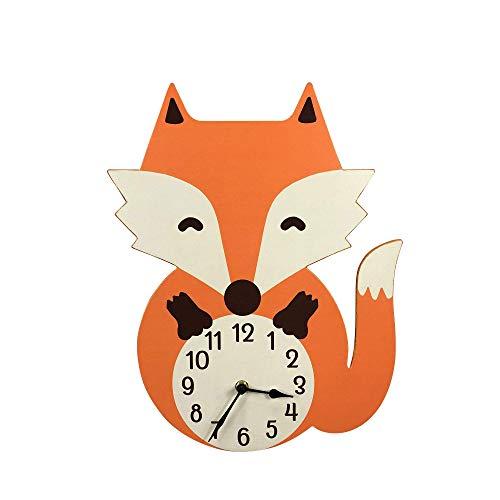 NIKKY HOME Holzwanduhr für Kinderzimmer Fuchs Tier Design